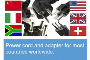 Power cord and adapter for most countries worldwide available immediately from our warehouse.